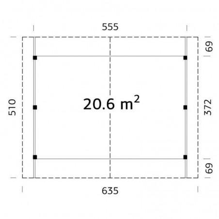 Medidas pérgola madera 555x372 cm. Postes 12x12cm. 20,6 m²