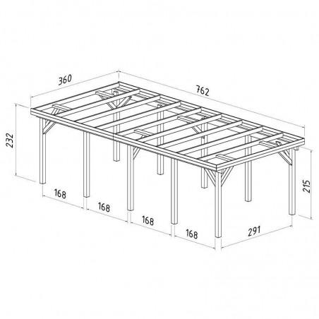 Medidas Pérgola madera 360x762cm. Postes 12x12cm. 23,1m²