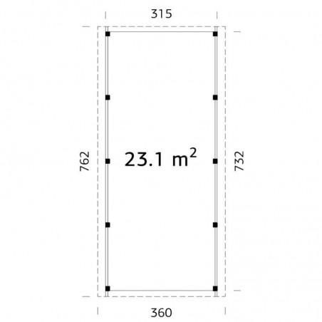 Plano/medidas pérgola Karl 23,1m²