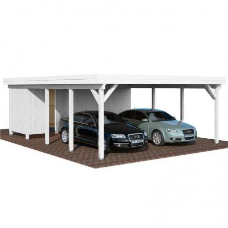 Pérgola madera 600x762cm. Postes 12x12cm. 40,6 m² - En blanco