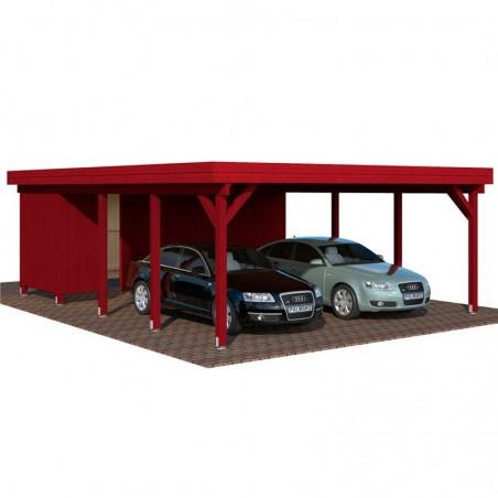 Pérgola madera 600x762cm. Postes 12x12cm. 40,6 m² - En rojo