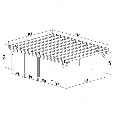 Medidas Pérgola madera 600x762cm. Postes 12x12cm. 40,6 m²