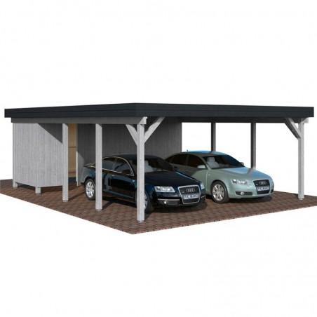 Pérgola madera 600x762cm. Postes 12x12cm. 40,6 m² - En gris
