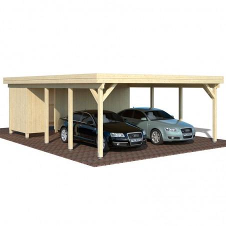 Pérgola madera 600x762cm. Postes 12x12cm. 40,6 m²
