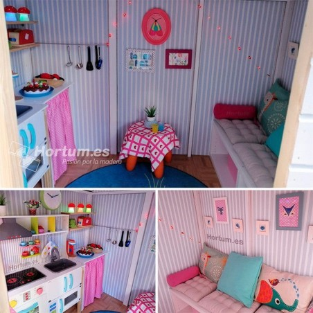 Interior casita de madera infantil Aurelie. Casita para jugar en el jardín