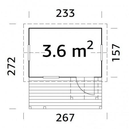 Medidas casita de madera infantil Otto 3,6 m²