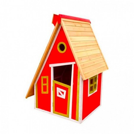 Casita infantil de madera Peter roja. 10 mm, 122 x 102 cm