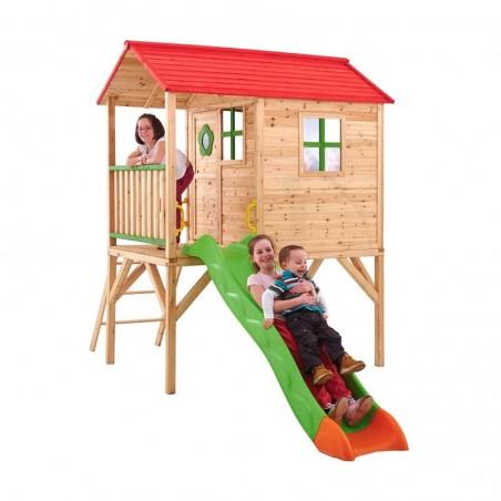 Casita de madera Infantil en altura con tobogán