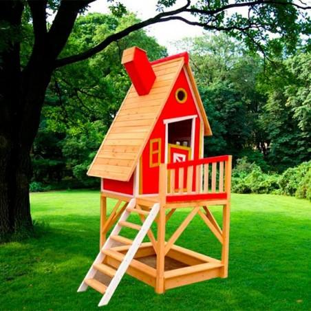 Casita infantil de madera, con terraza y arenero Pinocho