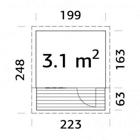 Medidas casita infantil Aksel 199 x 223 cm