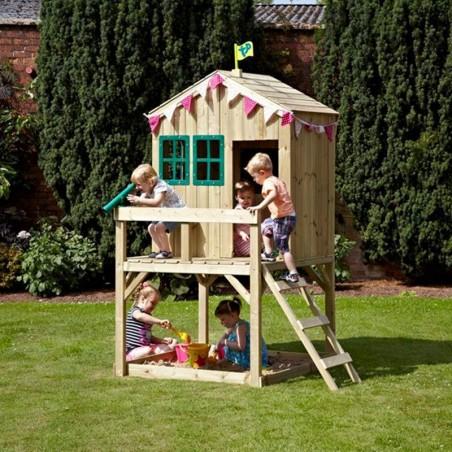 Casita infantil de madera en altura - Casita con terraza y arenero