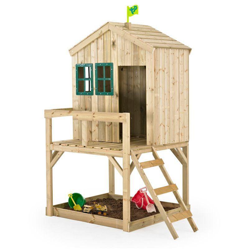Casita de madera alta para niños - Casita con arenero