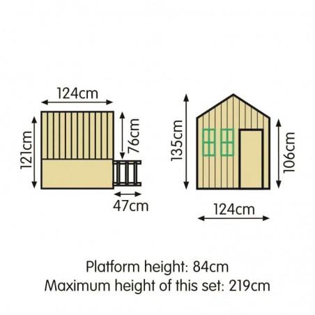 Medidas casita de madera alta para niños - Casita infanitl César