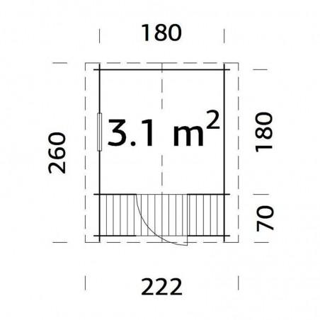 Medidas Casita infantil Stina, 196 x 196 (256) cm