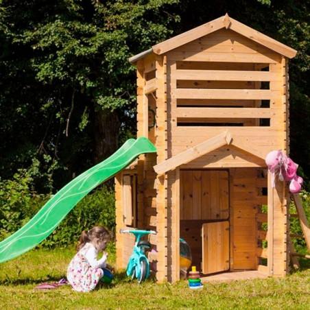 Casita infantil de madera con tobogán | 175 x 332 ccm
