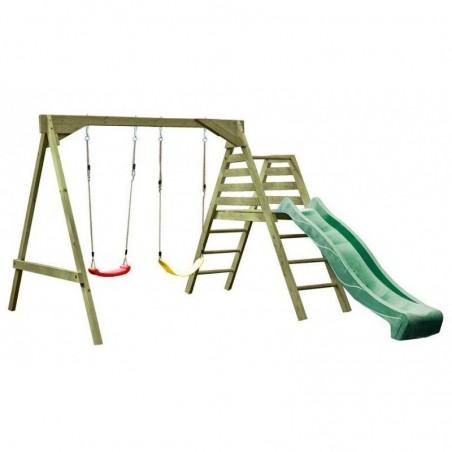 Parque infantil de madera con tobogán verde Carmen