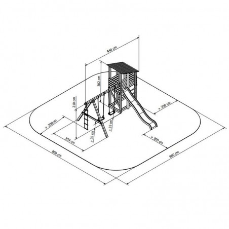 Medidas y área de seguridad parque infantil de madera Minna
