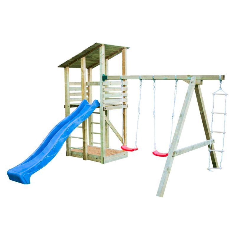 Parque infantil de madera Minna con tobogán azul 440x260x300cm