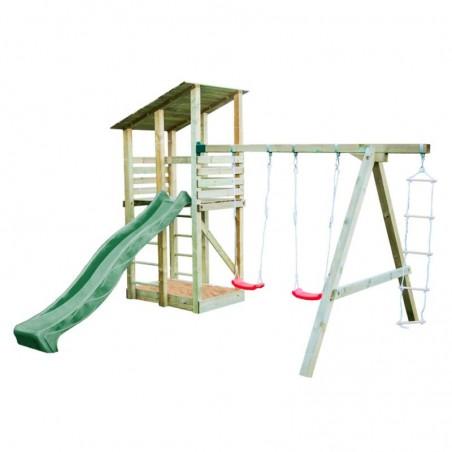 Parque infantil de madera Minna con tobogán verde 440x260x300cm
