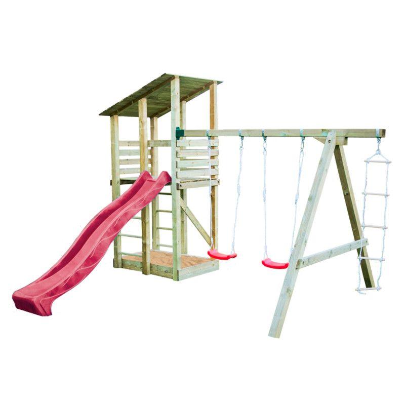 Parque infantil de madera Minna con tobogán rojo 440x260x300cm