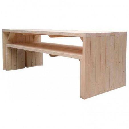 Mesa de madera para jardín con bancada de asientos independientes