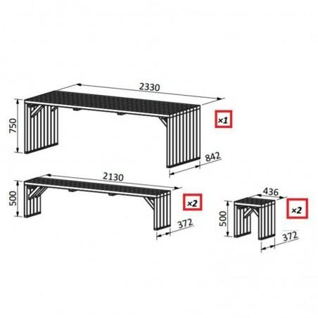 Medidas mesa de madera para exterior modelo Line