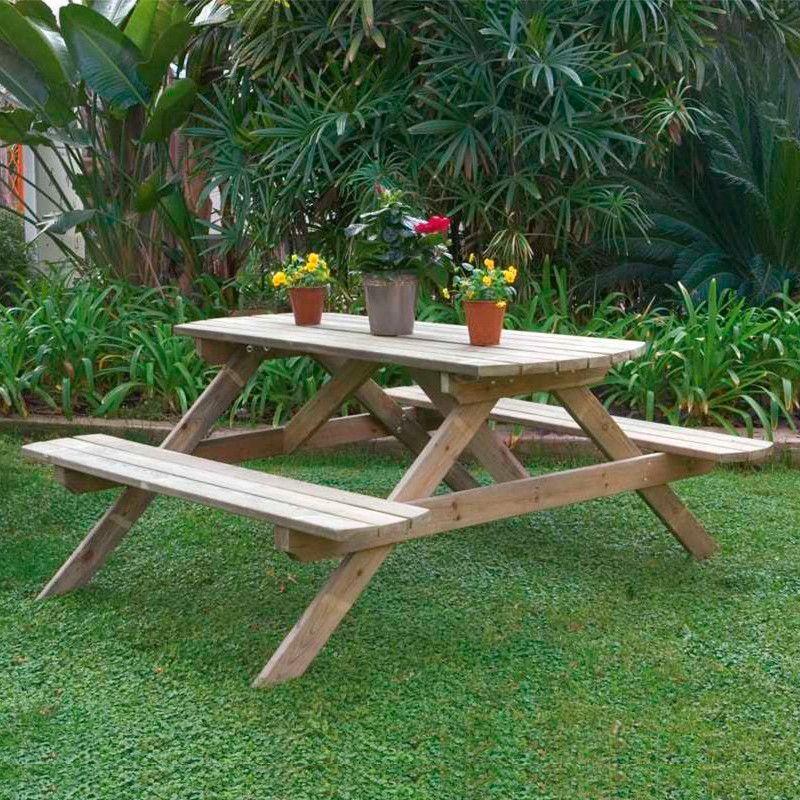 Mesa de madera tipo picnic 25mm, 160 x 187 cm.
