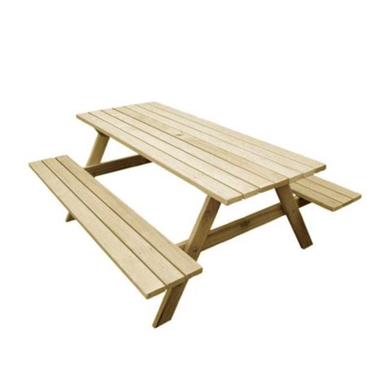 Mesa de madera para jardín - Bancos fijos