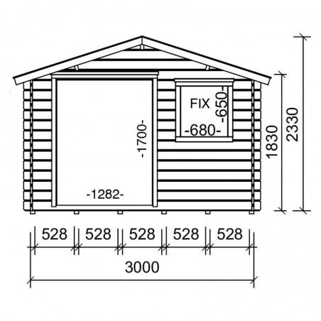 Medidas caseta madera jardín Mila. 28 mm, 300 x 250 cm, 7,5 m²