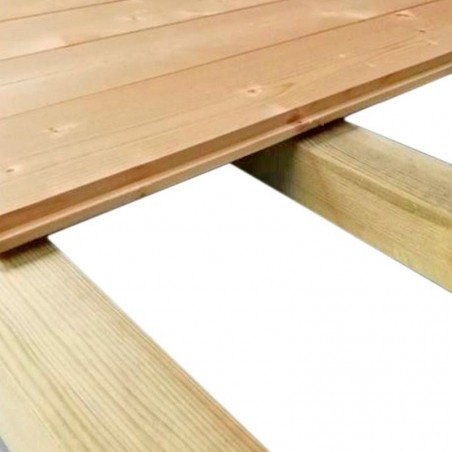 Suelo de lamas caseta de madera Valodan y Filigan de Decor et Jardin