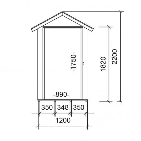 Medidas cobertizo de madera Budapest 13 mm, 120 x 175 cm. 2.16 m²