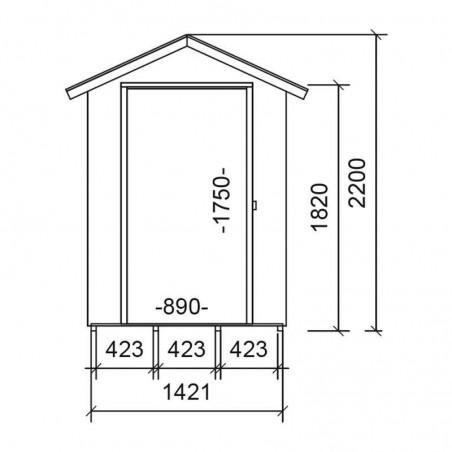 Medidas cobertizo de madera Tata. 13 mm, 140 x 175 cm. 2.54 m²