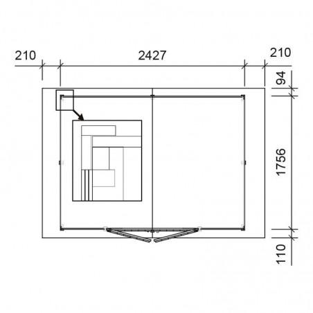 Plano caseta de madera para jardín Igor. 13 mm, 240 x 175 cm, 4.2 m²