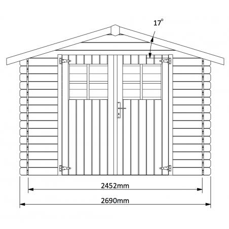 Medidas caseta de madera para jardín Miloman 270x200 cm