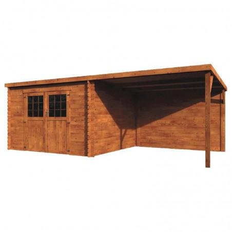 Caseta de madera tratada con techo plano y pergola techada lateral