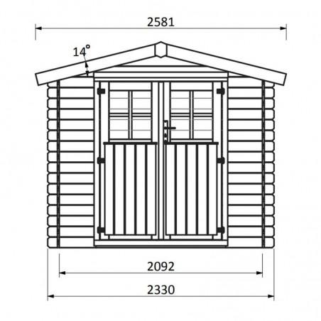 Medidas caseta de madera modelo Malo -  233 x 215 cm