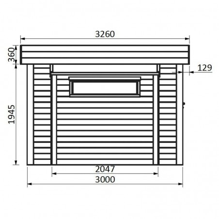 Medidas laterales de la caseta de madera modelo Brean o Atelier
