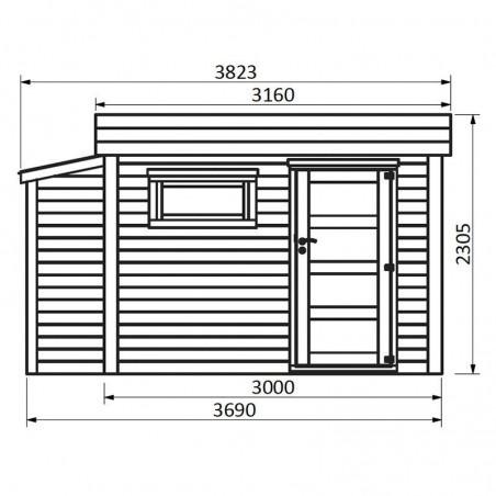 Medidas caseta de madera con techo plano Brean