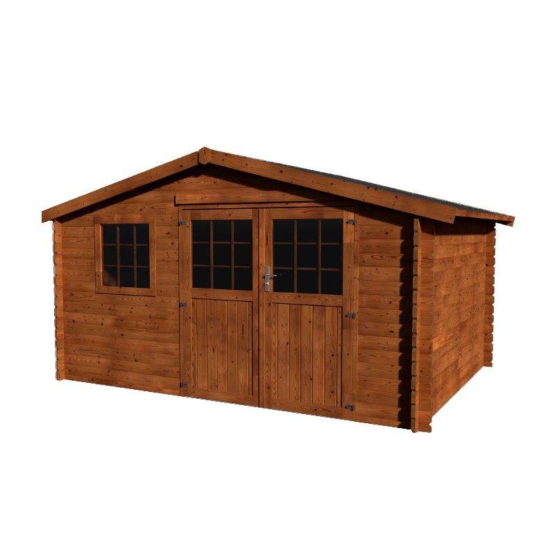 Caseta de madera para jardín de 4x3m Valeria. Tratada en autoclave marrón.