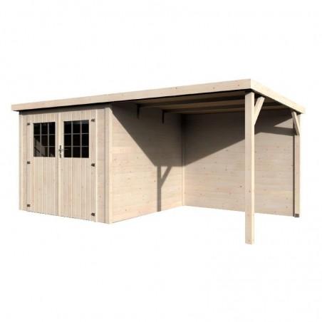 Caseta de madera con techo plano y pérgola lateral - Paradis