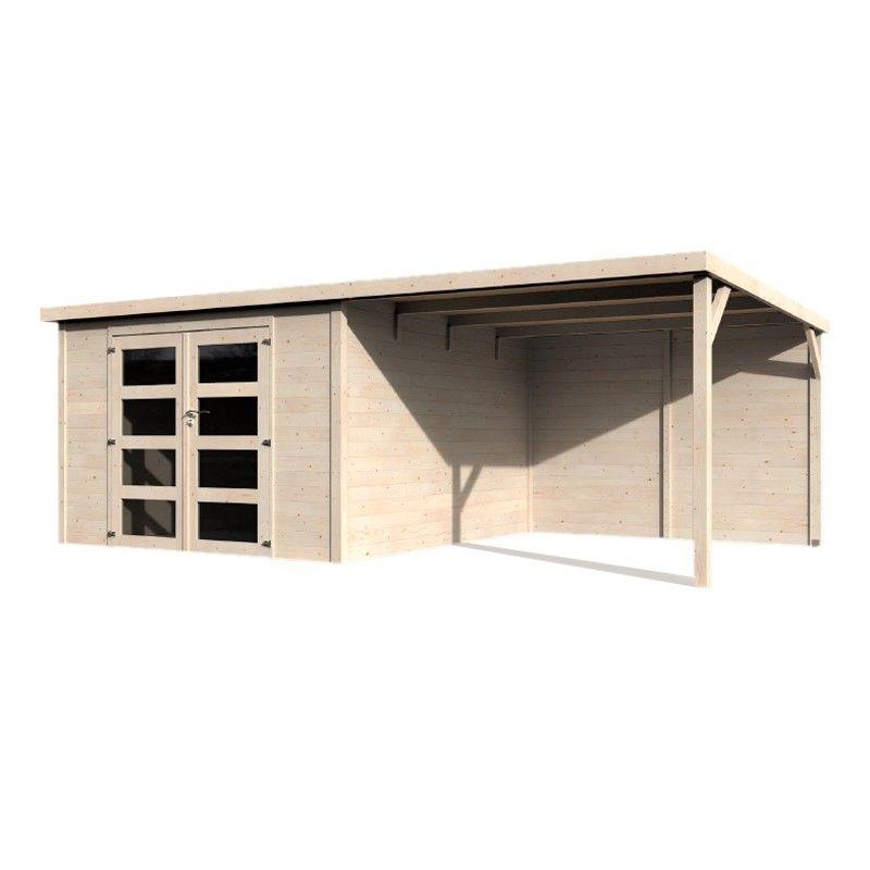 Caseta de madera con techo plano y pergola lateral - Modelo Delicias