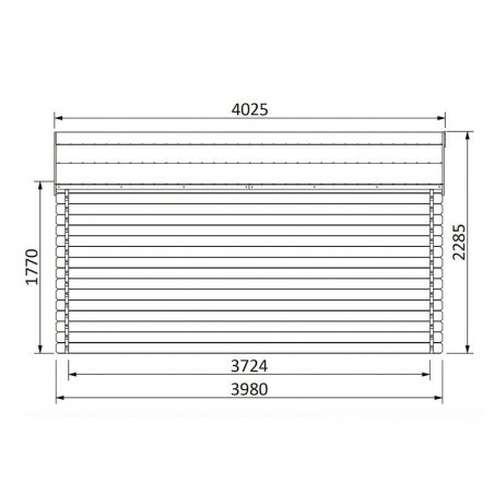 Medidas lateral, caseta de madera para jardín Vallauris - 4x4m