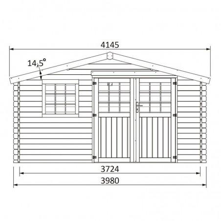 Medidas caseta de madera para jardín Vallauris - 4x4m