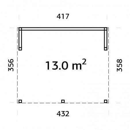 Medidas caseta de madera acristalada Nova 13 m2