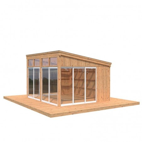 Caseta de madera acristalada Nova 13m2 - Tratamiento marrón