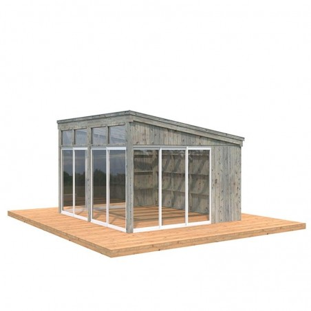 Caseta de madera acristalada Nova 13m2 - Tratamiento gris
