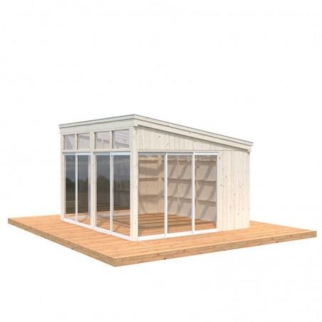 Caseta de madera acristalada Nova 13m2 - Madera natural