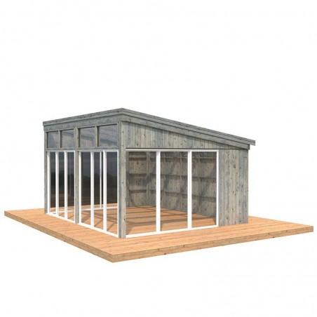 Caseta de madera acristalada Nova 17.8m2 - Tratamiento Gris