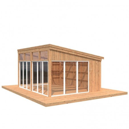 Caseta de madera acristalada Nova 17.8m2 - Tratamiento marrón