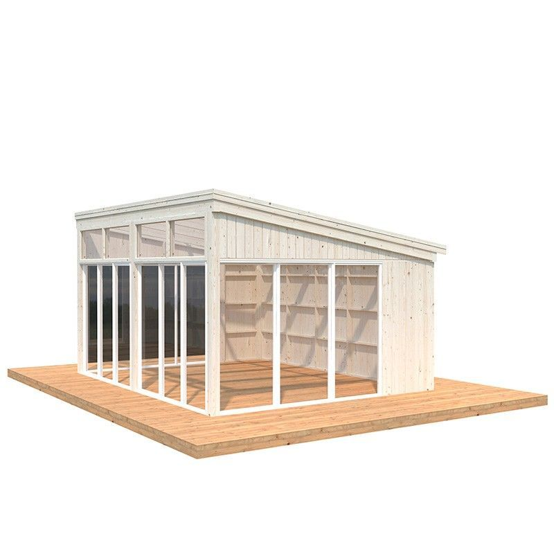 Caseta de madera acristalada Nova 17.8m2 - Madera natural